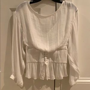 free people white long sleeve tight at the waist